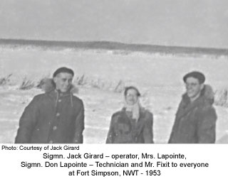 Jack Girard with Don and Mrs LaPointe, Ft. Simpson 1953