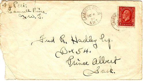 camsell River postal cover